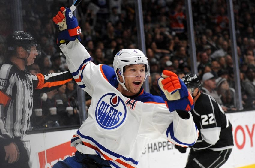 November 14, 2015; Los Angeles, CA, USA; Edmonton Oilers left wing Taylor Hall (4) celebrates his goal scored against Los Angeles Kings in the third period at Staples Center. Mandatory Credit: Gary A. Vasquez-USA TODAY Sports