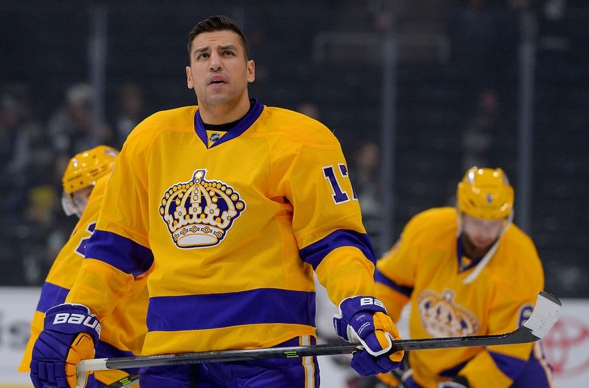 Nov 10, 2015; Los Angeles, CA, USA; Los Angeles Kings left wing Milan Lucic (17) warms up before the game against the Arizona Coyotes at Staples Center. Mandatory Credit: Jayne Kamin-Oncea-USA TODAY Sports