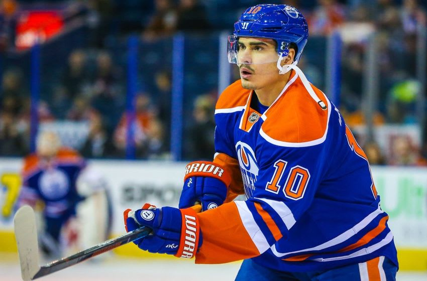 Feb 13, 2016; Edmonton, Alberta, CAN; Edmonton Oilers right wing Nail Yakupov (10) skates during the warmup period against the Winnipeg Jets at Rexall Place. Mandatory Credit: Sergei Belski-USA TODAY Sports
