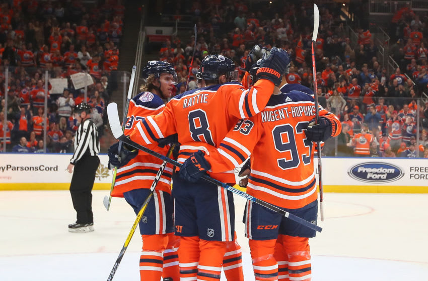 EDMONTON, AB - DECEMBER 27: Edmonton Oilers Left Wing Ryan Nugent-Hopkins (93) celebrates a power play goal with his line mates in the first period during the Edmonton Oilers game versus the Vancouver Canucks on December 27, 2018 at Rogers Place in Edmonton, AB. (Photo by Curtis Comeau/Icon Sportswire via Getty Images)