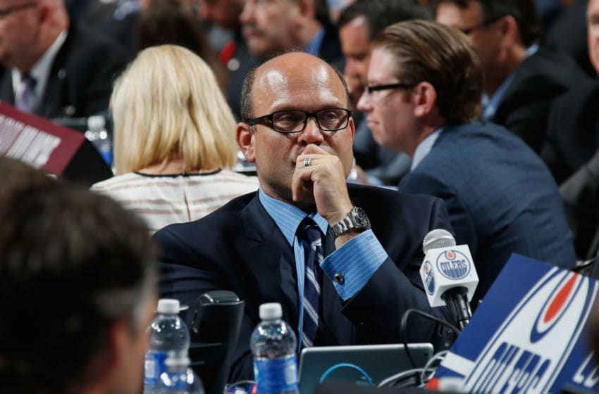 SUNRISE, FL - JUNE 26: Peter Chiarelli of the Edmonton Oilers attends the 2015 NHL Draft at BB&T Center on June 26, 2015 in Sunrise, Florida. (Photo by Bruce Bennett/Getty Images)
