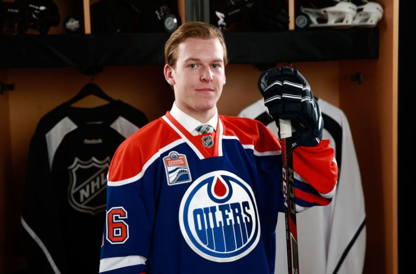BUFFALO, NY - JUNE 25: Tyler Benson poses for a portrait after being selected 32nd overall by the Edmonton Oilers during the 2016 NHL Draft at First Niagara Center on June 25, 2016 in Buffalo, New York. (Photo by Jeff Vinnick/NHLI via Getty Images)