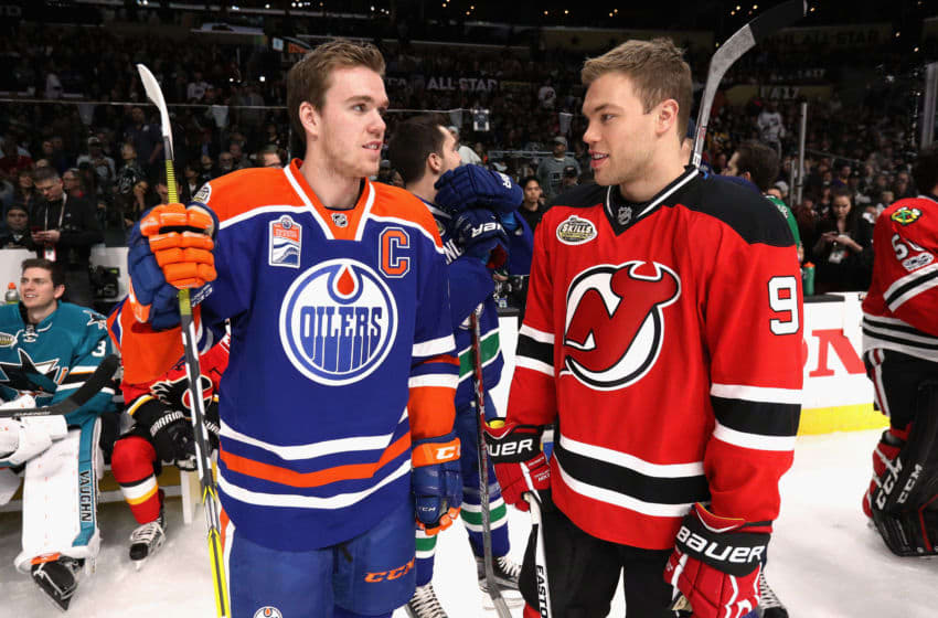 LOS ANGELES, CA - JANUARY 28: Connor McDavid #97 of the Edmonton Oilers and Taylor Hall #9 of the New Jersey Devils look on during the 2017 Coors Light NHL All-Star Skills Competition at Staples Center on January 28, 2017 in Los Angeles, California. (Photo by Dave Sandford/NHLI via Getty Images)