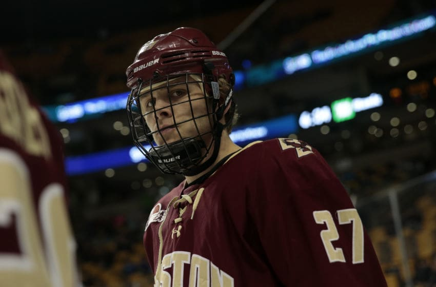 BOSTON, MA - MARCH 18: Boston College Eagles forward Graham McPhee (27) waits for a warm up drill before the Hockey East Championship game between the UMass Lowell River Hawks and the Boston College Eagles on March 18, 2017 at TD garden in Boston Massachusetts. The River Hawks defeated the Eagles 4-3. (Photo by Fred Kfoury III/Icon Sportswire via Getty Images)