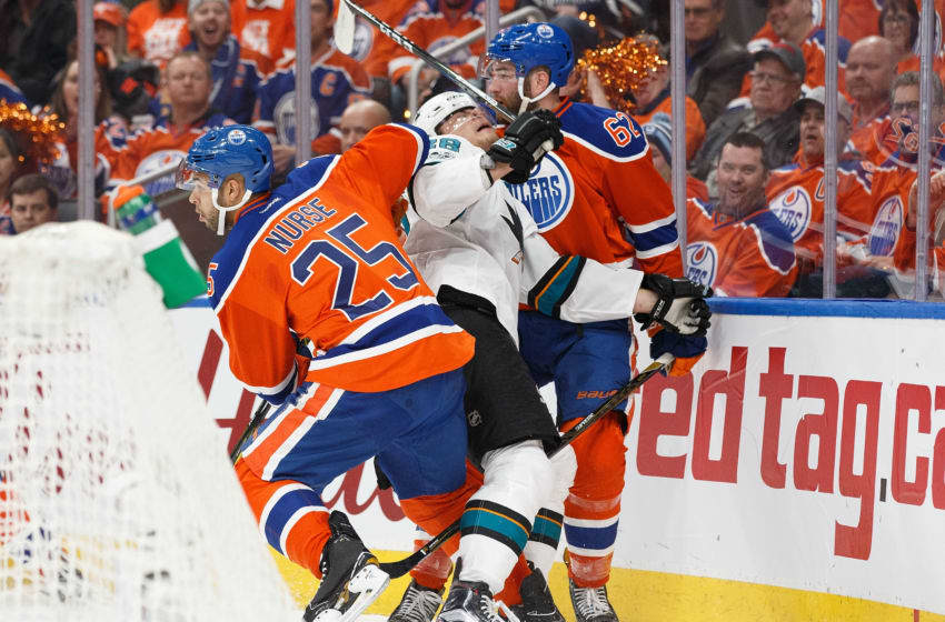 EDMONTON, AB - APRIL 12: Darnell Nurse and Eric Gryba. (Photo by Codie McLachlan/Getty Images)