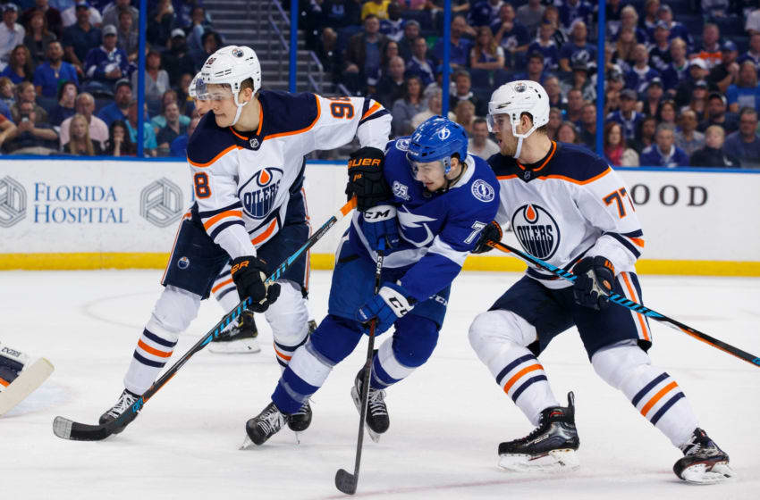 TAMPA, FL - MARCH 18: Anthony Cirelli #71 of the Tampa Bay Lightning skates against Jesse Puljujarvi #98 and Oscar Klefbom #77 of the Edmonton Oilers during the first period at Amalie Arena on March 18, 2018 in Tampa, Florida. (Photo by Scott Audette/NHLI via Getty Images)