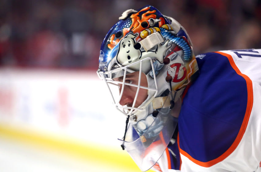 CHICAGO, IL - FEBRUARY 18: Edmonton Oilers goalie Cam Talbot (33) wearing a goalie mask with Ghost Busters art work on it, looks on during the third second of a game between the Edmonton Oilers and the Chicago Blackhawks on February 18, 2017, at the United Center in Chicago, IL. The Edmonton Oilers defeated the Chicago Blackhawks by the score of 3-1. (Photo by Robin Alam/Icon Sportswire via Getty Images)