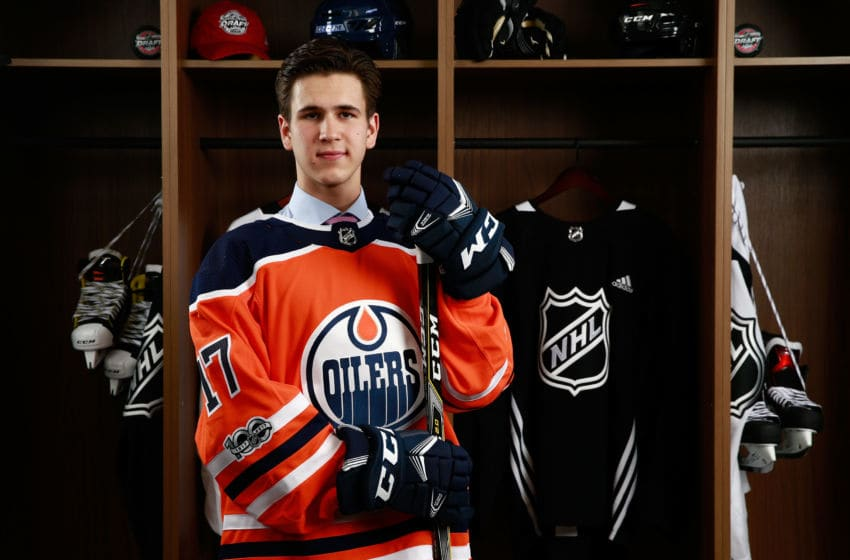 CHICAGO, IL - JUNE 24: Kirill Maximov, 146th overall pick of the Edmonton Oilers, poses for a portrait during the 2017 NHL Draft at United Center on June 24, 2017 in Chicago, Illinois. (Photo by Jeff Vinnick/NHLI via Getty Images)
