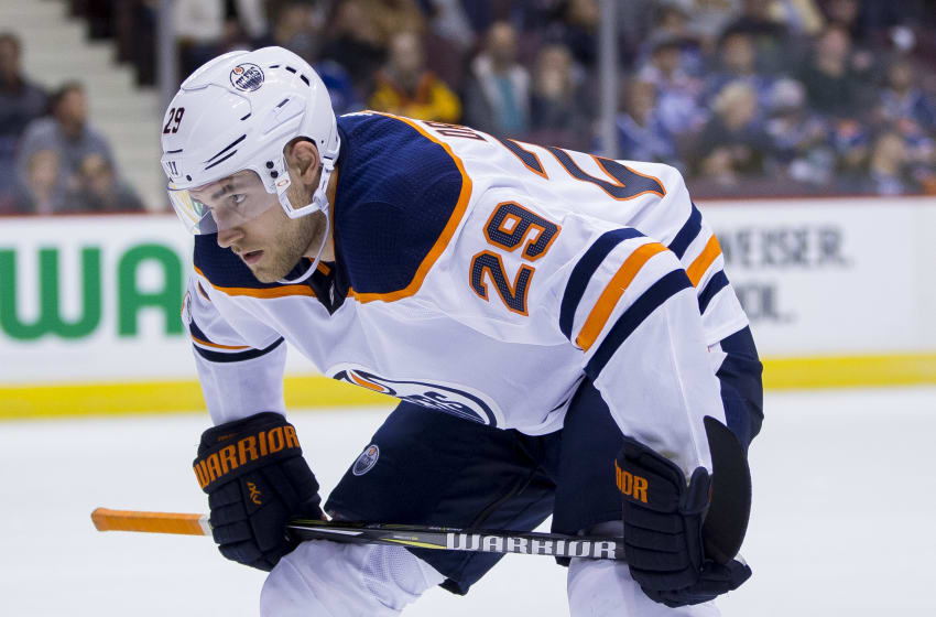 VANCOUVER, BC - OCTOBER 07: Edmonton Oilers Right Wing Leon Draisaitl (29) during the Edmonton Oilers game versus the Vancouver Canucks on October 07, 2017, at Rogers Arena in Vancouver, BC. Vancouver won 3-2. (Photo by Bob Frid/Icon Sportswire via Getty Images)