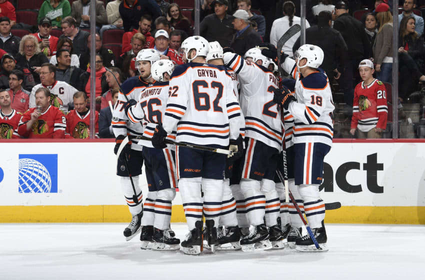CHICAGO, IL - OCTOBER 19: The Edmonton Oilers celebrate after defeating the Chicago Blackhawks 2-1 in overtime at the United Center on October 19, 2017 in Chicago, Illinois. (Photo by Bill Smith/NHLI via Getty Images)