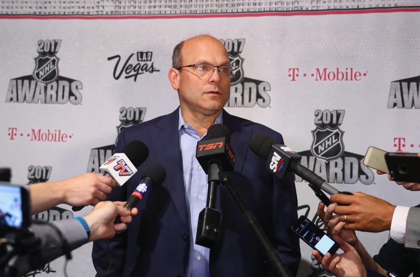 LAS VEGAS, NV - JUNE 20: General manager Peter Chiarelli of the Edmonton Oilers is interviewed during media availability for the 2017 NHL Awards at Encore Las Vegas on June 20, 2017 in Las Vegas, Nevada. (Photo by Bruce Bennett/Getty Images)