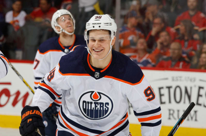 CALGARY, AB - DECEMBER 2: Jesse Puljujarvi #98 of the Edmonton Oilers is all smiles after a goal against the Calgary Flames at Scotiabank Saddledome on December 2, 2017 in Calgary, Alberta, Canada. (Photo by Gerry Thomas/NHLI via Getty Images)