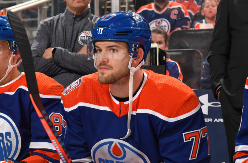 EDMONTON, AB - DECEMBER 9: Oscar Klefbom #77 of the Edmonton Oilers sits on the bench prior to the game against the Calgary Flames on December 9, 2018 at Rogers Place in Edmonton, Alberta, Canada. (Photo by Andy Devlin/NHLI via Getty Images)