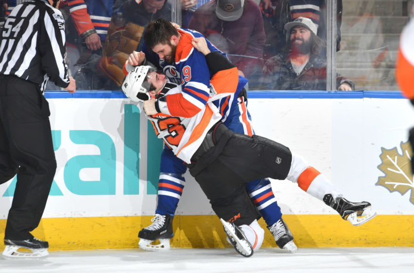 EDMONTON, AB - FEBRUARY 16: Patrick Maroon #19 of the Edmonton Oilers fights with Brandon Manning #23 of the Philadelphia Flyers on February 16, 2017 at Rogers Place in Edmonton, Alberta, Canada. (Photo by Andy Devlin/NHLI via Getty Images)