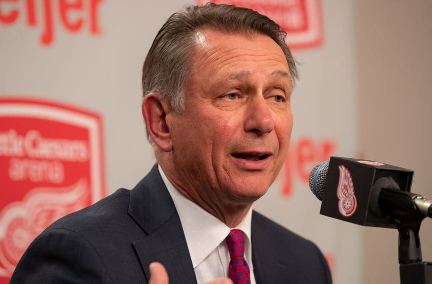 DETROIT, MI - APRIL 07: Detroit Red Wings General Manger Ken Holland addresses the media regarding his two year contract extension prior to an NHL game against the New York Islanders at Little Caesars Arena on April 7, 2018 in Detroit, Michigan. (Photo by Dave Reginek/NHLI via Getty Images)