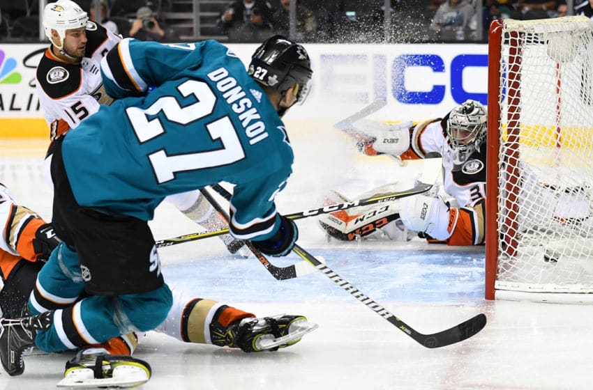 SAN JOSE, CA - APRIL 16: Joonas Donskoi #27 of the San Jose Sharks shoots and scores getting his shot past goalie John Gibson #36 of the Anaheim Ducks during the second period in Game Three of the Western Conference First Round during the 2018 NHL Stanley Cup Playoffs at SAP Center on April 16, 2018 in San Jose, California. (Photo by Thearon W. Henderson/Getty Images)