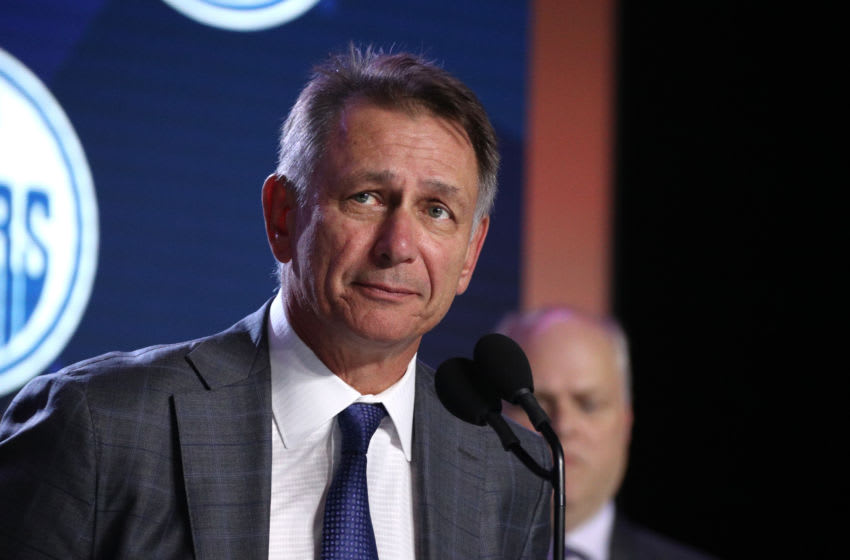 VANCOUVER, BRITISH COLUMBIA - JUNE 21: General Manager Ken Holland of the Edmonton Oilers speaks onstage during the first round of the 2019 NHL Draft at Rogers Arena on June 21, 2019 in Vancouver, Canada. (Photo by Dave Sandford/NHLI via Getty Images)