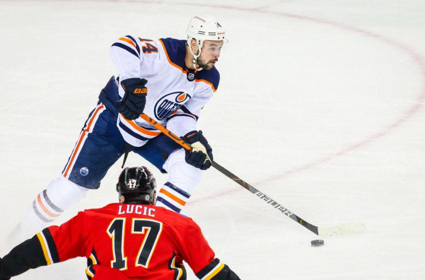 Devin Shore #14, Edmonton Oilers Mandatory Credit: Sergei Belski-USA TODAY Sports