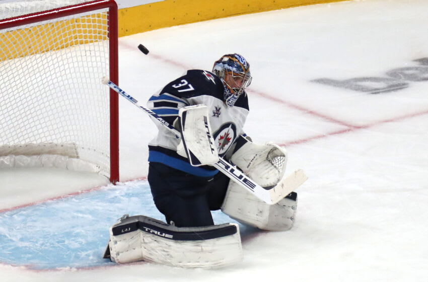 Winnipeg Jets Goaltender Connor Hellebuyck #37 Mandatory Credit: Jean-Yves Ahern-USA TODAY Sports