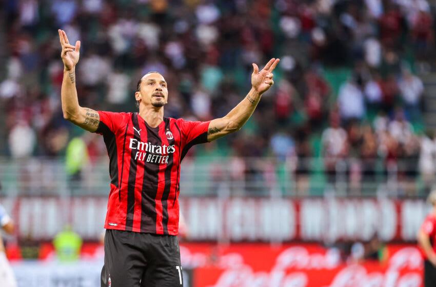 STADIO SAN SIRO, MILAN, LOMBARDIA, ITALY - 2021/09/12: Zlatan Ibrahimovic of AC Milan celebrates after scoring a goal during the Serie A 2021/22 football match between AC Milan and SS Lazio at Giuseppe Meazza Stadium in Milan. (Final score; AC Milan 2:0 SS Lazio). (Photo by Fabrizio Carabelli/SOPA Images/LightRocket via Getty Images)