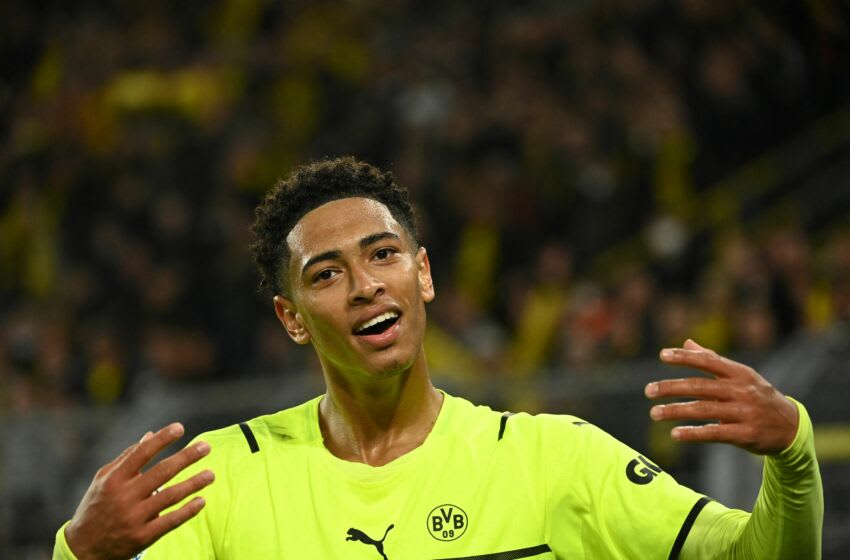 Dortmund's English midfielder Jude Bellingham celebrates after the UEFA Champions League Group C football match between BVB Borussia Dortmund and Sporting CP in Dortmund, western Germany, on September 28, 2021. (Photo by Ina Fassbender / AFP) (Photo by INA FASSBENDER/AFP via Getty Images)