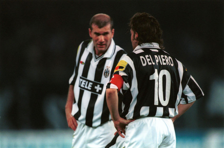 2001. Serie A 2000/ 2001. Round: Juventus vs Inter 3-0. Zinedine ZIDANE (L) and Alessandro DEL PIERO of JUVENTUS