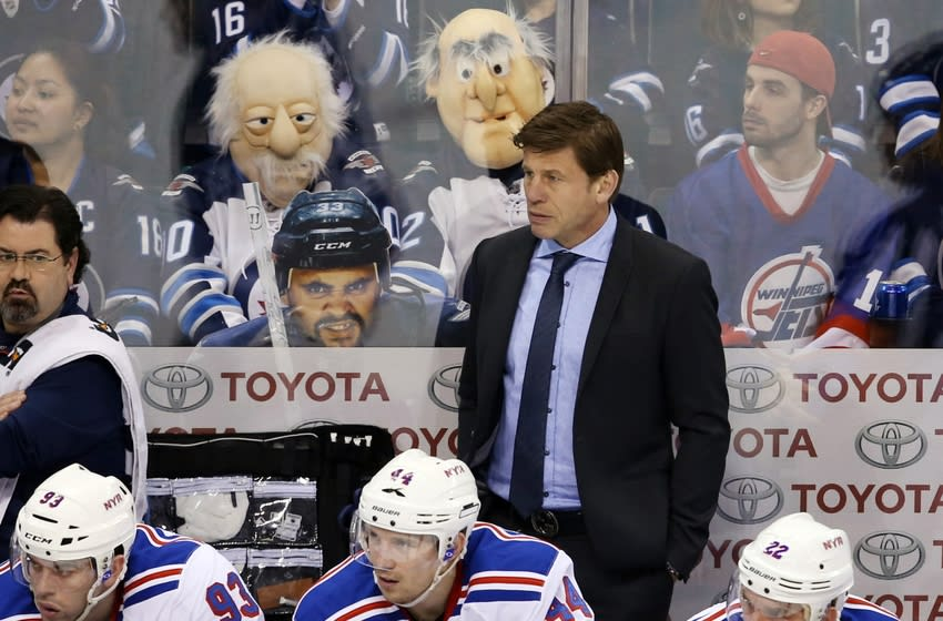 Mar 31, 2015; Winnipeg, Manitoba, CAN; New York Rangers assistant coach Ulf Samuelsson reacts during the first period against the Winnipeg Jets at MTS Centre. Mandatory Credit: Bruce Fedyck-USA TODAY Sports