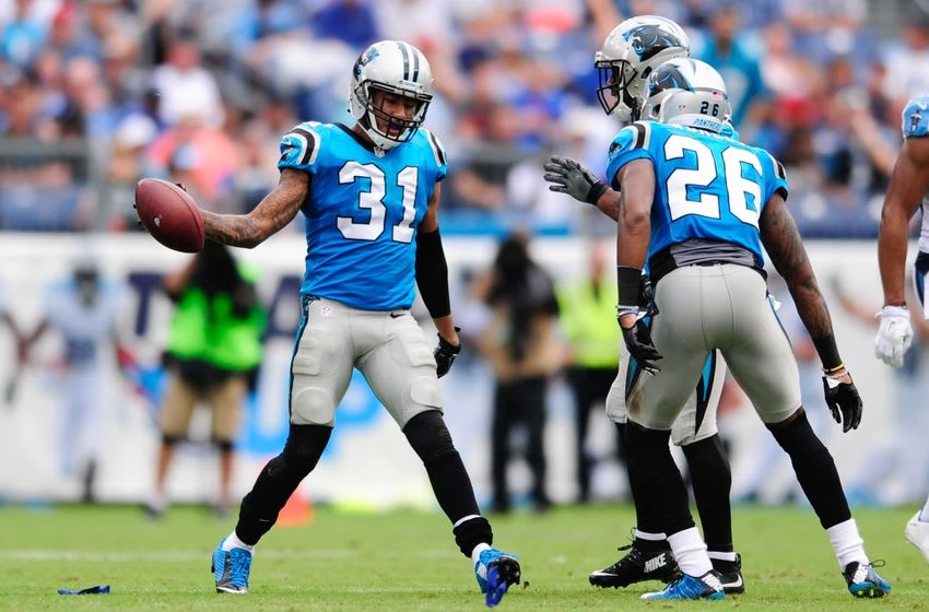 Aug 20, 2016; Nashville, TN, USA; Carolina Panthers cornerback Zack Sanchez (31) celebrates with teammates after a play during the second quarter against Tennessee Titans at Nissan Stadium. Mandatory Credit: Joshua Lindsey-USA TODAY Sports