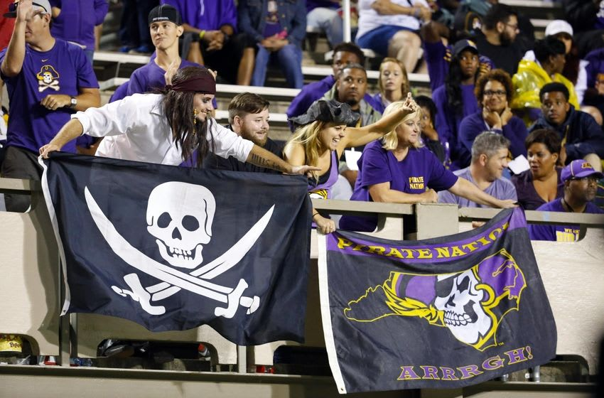 Sep 3, 2016; Greenville, NC, USA; East Carolina Pirates fans celebrate during the game against the Western Carolina Catamounts at Dowdy-Ficklen Stadium. The East Carolina Pirates defeated the Western Carolina Catamounts 52-7. Mandatory Credit: James Guillory-USA TODAY Sports