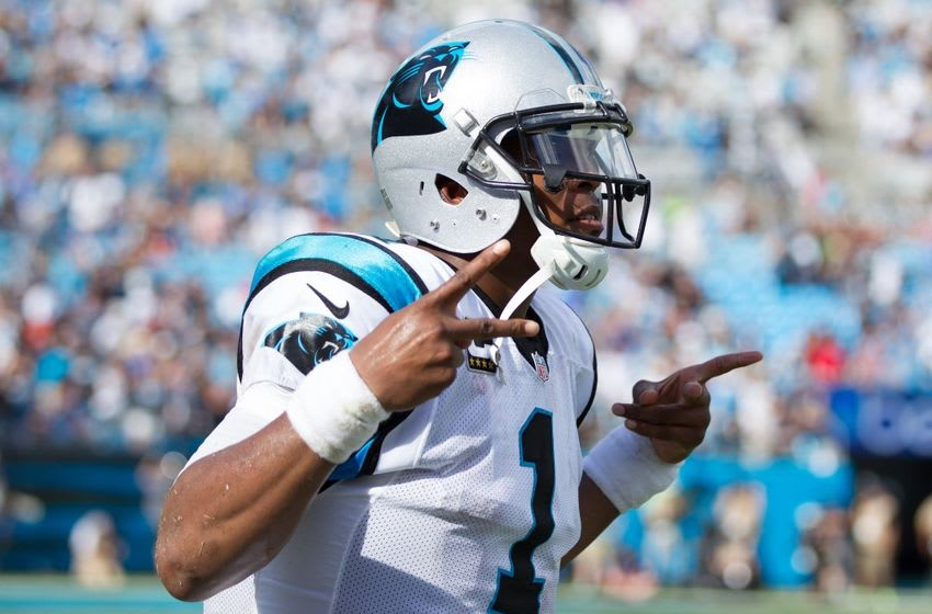 Sep 18, 2016; Charlotte, NC, USA; Carolina Panthers quarterback Cam Newton (1) celebrates after a touchdown in the fourth quarter against the San Francisco 49ers at Bank of America Stadium. The Panthers defeated the 49ers 46-27. Mandatory Credit: Jeremy Brevard-USA TODAY Sports