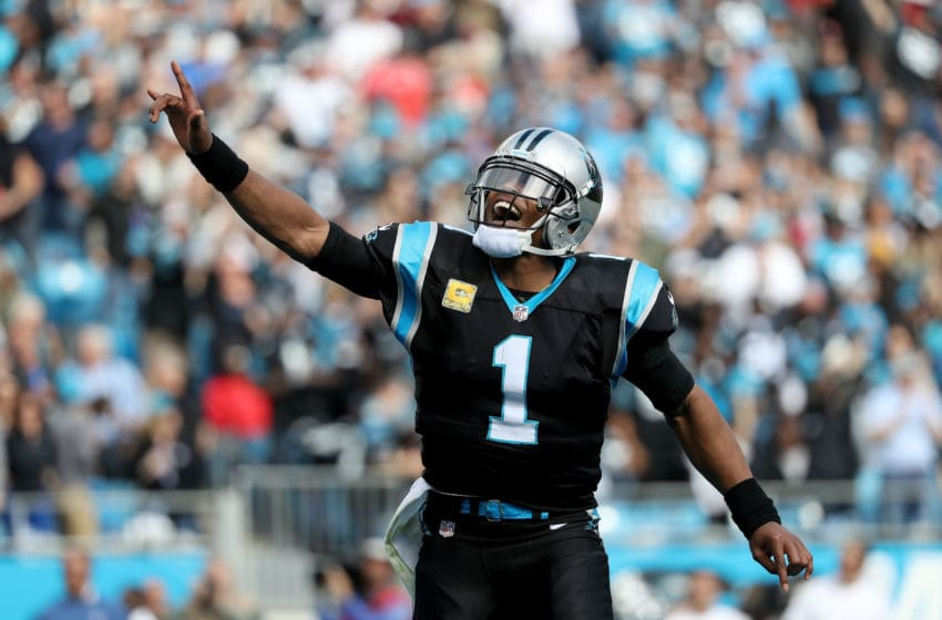CHARLOTTE, NC - NOVEMBER 04: Cam Newton #1 of the Carolina Panthers celebrates a touchdown against the Tampa Bay Buccaneers in the first quarter during their game at Bank of America Stadium on November 4, 2018 in Charlotte, North Carolina. (Photo by Streeter Lecka/Getty Images)
