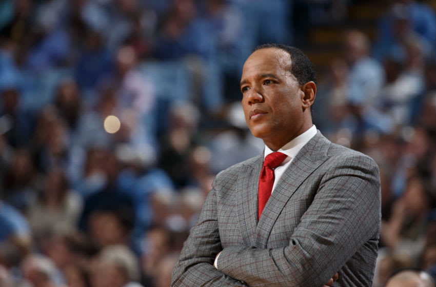 CHAPEL HILL, NC - FEBRUARY 05: Head coach Kevin Keatts of the North Carolina State Wolfpack coaches during a game against the North Carolina Tar Heels on February 05, 2019 at the Dean Smith Center in Chapel Hill, North Carolina. (Photo by Peyton Williams/UNC/Getty Images)