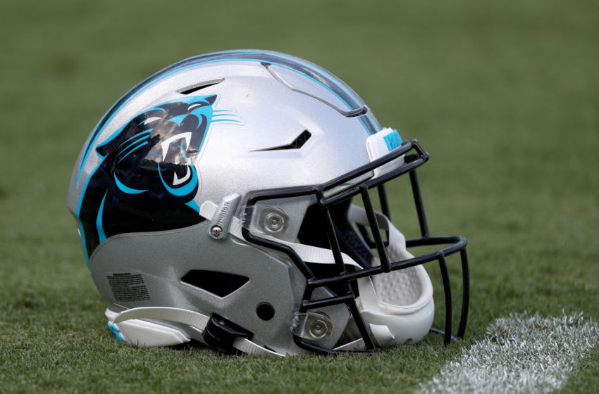 CHARLOTTE, NORTH CAROLINA - AUGUST 16: A detailed view of a Carolina Panthers helmet before their preseason game against the Buffalo Bills at Bank of America Stadium on August 16, 2019 in Charlotte, North Carolina. (Photo by Streeter Lecka/Getty Images)