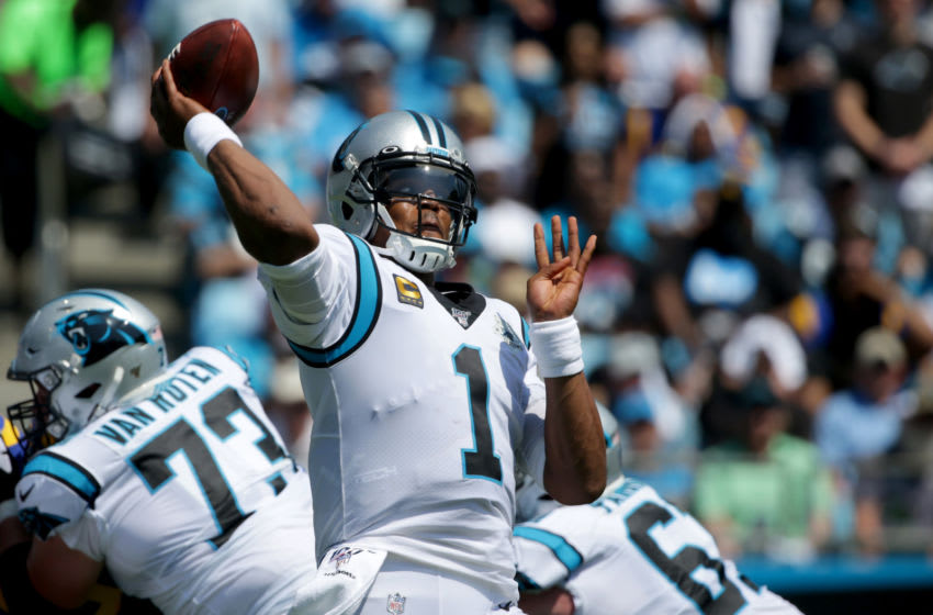 CHARLOTTE, NORTH CAROLINA - SEPTEMBER 08: Cam Newton #1 of the Carolina Panthers drops back to pass against the Los Angeles Rams during their game at Bank of America Stadium on September 08, 2019 in Charlotte, North Carolina. (Photo by Streeter Lecka/Getty Images)