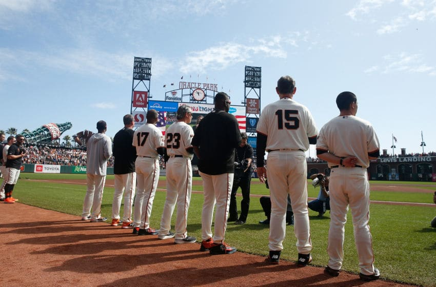 SAN FRANCISCO, CALIFORNIA - SEPTEMBER 29: Manager Bruce Bochy #15 of the San Francisco Giants stands for the national anthem before his last game as Giants manager, the game against the Los Angeles Dodgers at Oracle Park on September 29, 2019 in San Francisco, California. (Photo by Lachlan Cunningham/Getty Images)