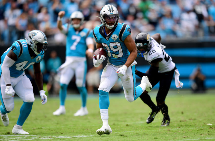 CHARLOTTE, NORTH CAROLINA - OCTOBER 06: Reggie Bonnafon #39 of the Carolina Panthers runs with the ball in the fourth quarter during their game against the Jacksonville Jaguars at Bank of America Stadium on October 06, 2019 in Charlotte, North Carolina. (Photo by Jacob Kupferman/Getty Images)
