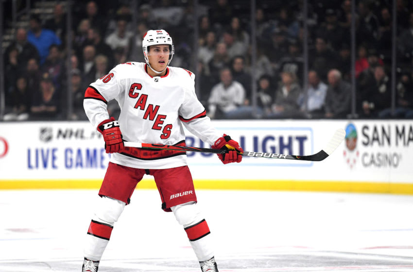 LOS ANGELES, CALIFORNIA - OCTOBER 15: Teuvo Teravainen #86 of the Carolina Hurricanes forechecks during a 2-0 Hurricanes win over the Los Angeles Kings at Staples Center on October 15, 2019 in Los Angeles, California. (Photo by Harry How/Getty Images)
