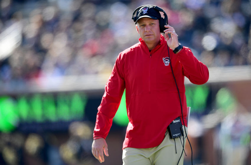 WINSTON SALEM, NORTH CAROLINA - NOVEMBER 02: Head Coach Dave Doeren of the North Carolina State Wolfpack in the first quarter during their game against the Wake Forest Demon Deacons at BB&T Field on November 02, 2019 in Winston Salem, North Carolina. (Photo by Jacob Kupferman/Getty Images)