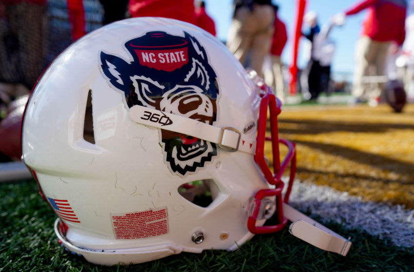 WINSTON SALEM, NORTH CAROLINA - NOVEMBER 02: An North Carolina State Wolfpack helmet in the second half during their game against the Wake Forest Demon Deacons at BB&T Field on November 02, 2019 in Winston Salem, North Carolina. (Photo by Jacob Kupferman/Getty Images)