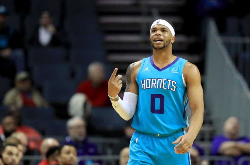CHARLOTTE, NORTH CAROLINA - DECEMBER 10: Miles Bridges #0 of the Charlotte Hornets reacts after a play against the Washington Wizards during their game at Spectrum Center on December 10, 2019 in Charlotte, North Carolina. NOTE TO USER: User expressly acknowledges and agrees that, by downloading and or using this photograph, User is consenting to the terms and conditions of the Getty Images License Agreement. (Photo by Streeter Lecka/Getty Images)