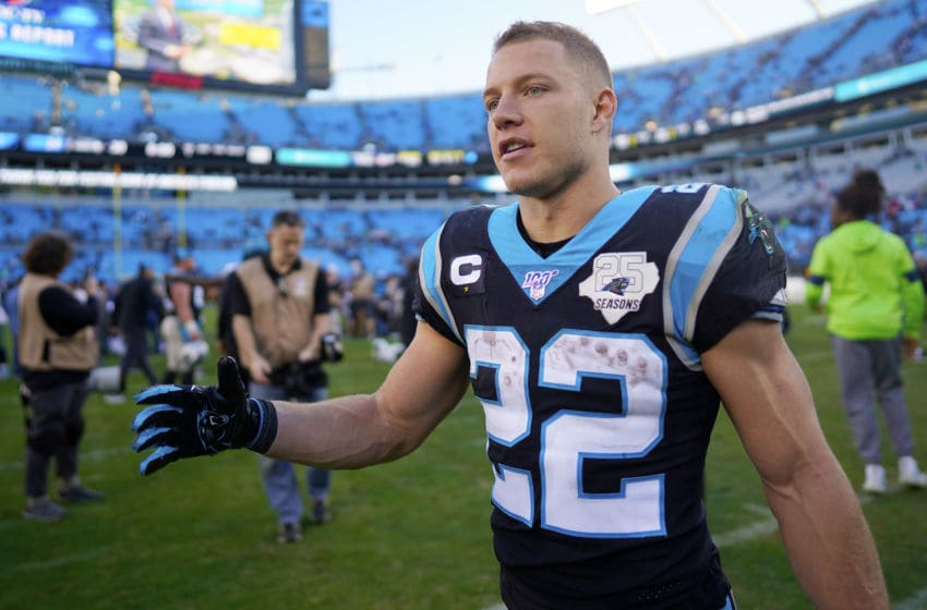 CHARLOTTE, NORTH CAROLINA - DECEMBER 15: Christian McCaffrey #22 of the Carolina Panthers after their game against the Seattle Seahawks at Bank of America Stadium on December 15, 2019 in Charlotte, North Carolina. (Photo by Jacob Kupferman/Getty Images)