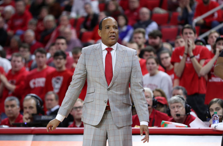RALEIGH, NC - JANUARY 9: Head coach Kevin Keatts of North Carolina State University during a game between Notre Dame and NC State at PNC Arena on January 9, 2020 in Raleigh, North Carolina. (Photo by Andy Mead/ISI Photos/Getty Images).