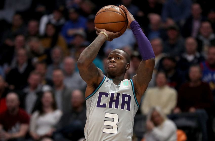 DENVER, COLORADO - JANUARY 15: Terry Rozier #3 of the Charlotte Hornets puts up a shot against the Denver Nuggets in the second quarter at the Pepsi Center on January 15, 2020 in Denver, Colorado. NOTE TO USER: User expressly acknowledges and agrees that, by downloading and or using this photograph, User is consenting to the terms and conditions of the Getty Images License Agreement. (Photo by Matthew Stockman/Getty Images)