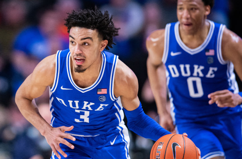 WINSTON-SALEM, NORTH CAROLINA - FEBRUARY 25: Tre Jones #3 of the Duke Blue Devils during the second half during their game against the Wake Forest Demon Deacons at LJVM Coliseum Complex on February 25, 2020 in Winston-Salem, North Carolina. (Photo by Jacob Kupferman/Getty Images)