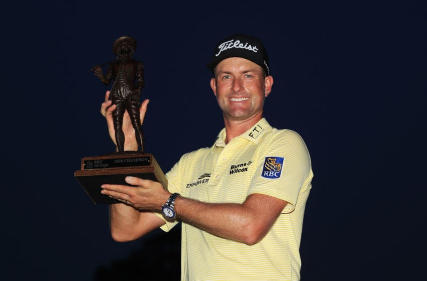 HILTON HEAD ISLAND, SOUTH CAROLINA - JUNE 21: Webb Simpson of the United States celebrates with the trophy after winning during the final round of the RBC Heritage on June 21, 2020 at Harbour Town Golf Links in Hilton Head Island, South Carolina. (Photo by Sam Greenwood/Getty Images)
