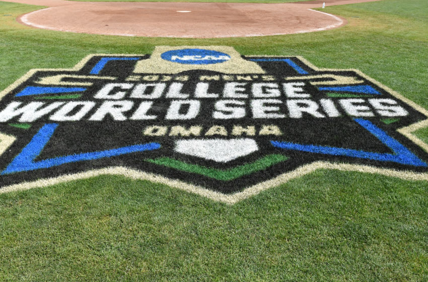 Omaha, NE - JUNE 25: A general view of the College World Series logo at TD Ameritrade Park, prior to game one of the College World Series Championship Series between the Arkansas Razorbacks and the Oregon State Beavers on June 25, 2018 at in Omaha, Nebraska. (Photo by Peter Aiken/Getty Images)