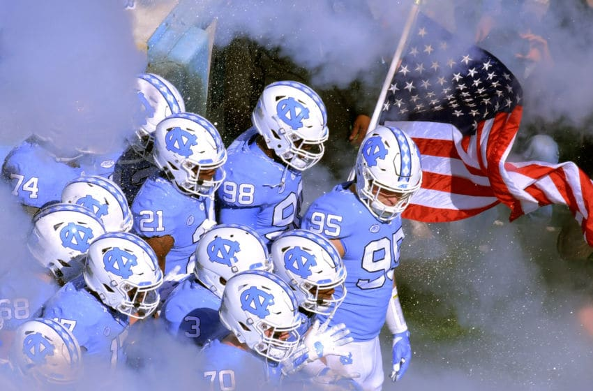 CHAPEL HILL, NC - NOVEMBER 03: The North Carolina Tar Heels prepare to take the field for the game against the Georgia Tech Yellow Jackets at Kenan Stadium on November 3, 2018 in Chapel Hill, North Carolina. (Photo by Grant Halverson/Getty Images)