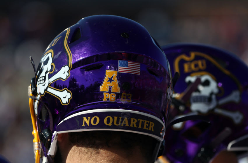 DALLAS, TEXAS - NOVEMBER 09: The helmet of Jaison Fournet #63 of the East Carolina Pirates at Gerald J. Ford Stadium on November 09, 2019 in Dallas, Texas. (Photo by Ronald Martinez/Getty Images)