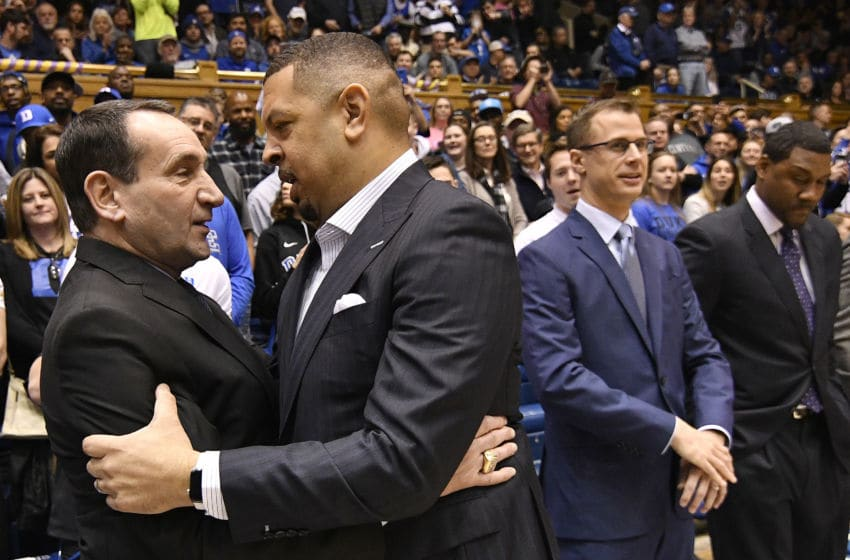 DURHAM, NORTH CAROLINA - JANUARY 28: Head coach Mike Krzyzewski of the Duke Blue Devils embraces head coach Jeff Capel III of the Pittsburgh Panthers before their game at Cameron Indoor Stadium on January 28, 2020 in Durham, North Carolina. (Photo by Grant Halverson/Getty Images)
