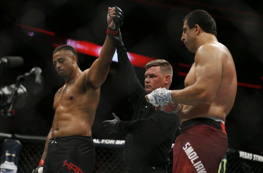 SUNRISE, FLORIDA - APRIL 27: Greg Hardy reacts after defeating Dmitrii Smoliakov of Russia during their heavyweight bout at UFC Fight Night at BB&T Center on April 27, 2019 in Sunrise, Florida. (Photo by Michael Reaves/Getty Images)